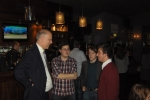 Chris Grayling MP talking to a group of Liverpool CF members